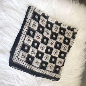 Accessories - Black and white silk scarf